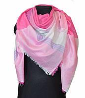 Розовый большой хлопковый платок в клетку, фото 1