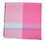 Розовый большой хлопковый платок в клетку, фото 2