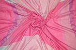 Розовый большой хлопковый платок в клетку, фото 3