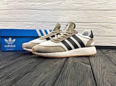 Мужские очень легкие кроссовки Adidas Iniki бежевые топ реплика, фото 3