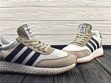 Мужские очень легкие кроссовки Adidas Iniki бежевые топ реплика, фото 2
