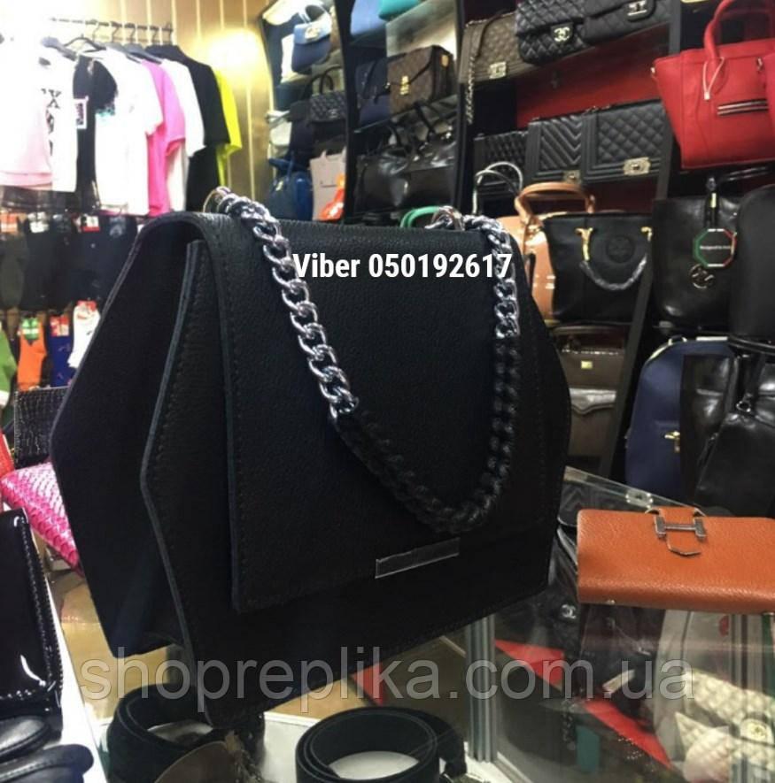 Сумка черная женская через плечо кожаная сумка кожаная кросс-боди на цепочке
