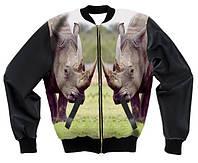 "Куртка-бомбер с 3D принтом ""Носорог"", фото 1"