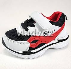 Детские кроссовки для мальчика белые с красным 22р.