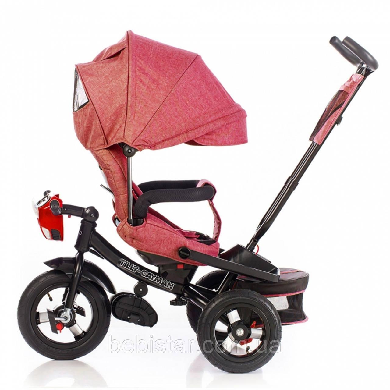 Трехколесный велосипед TILLY CAYMAN красный лен усиленная рама поворот сидения надувные колеса музыка и свет