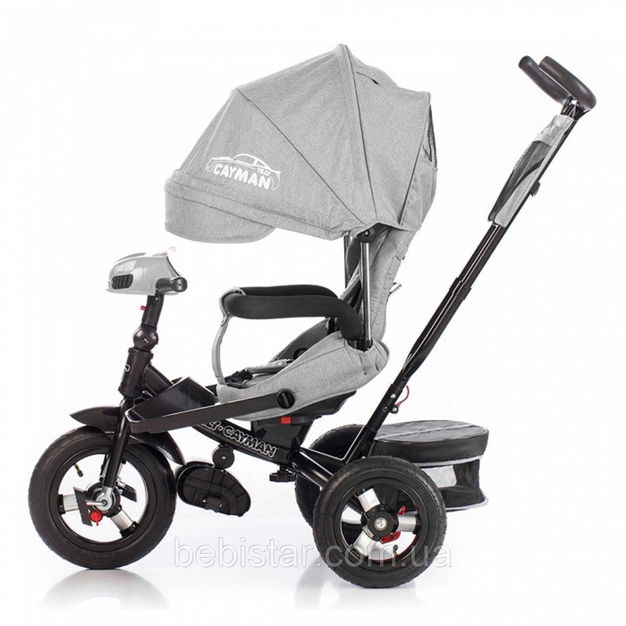 Трехколесный велосипед TILLY CAYMAN серый лен усиленная рама поворот сидения надувные колеса музыка и свет