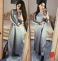 Женское длинное платье с длинным рукавом,по бокам отделка змейки серебро(итальянский трикотаж)2 цвета(батал)