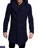 Мужское стильное кашемировое пальто  на пуговицах с атласной подкладкой (кашемир+шерсть) 4 цвета