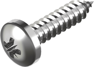 Саморез из нержавеющей стали А2 по металлу, закругленная цилиндрическая головка DIN 7981