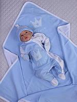 """Летний набор для мальчика """"Королевский"""", голубой с белым, фото 1"""