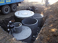Монтаж канализации из бетонных колец