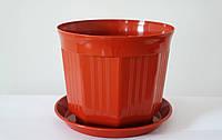 Пластиковый Горшок для цветов Октава Терракотовый 13,5см 0,8 литров С поддоном