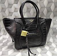 Женская сумка Celine Селин под рептилию качественная эко-кожа черная
