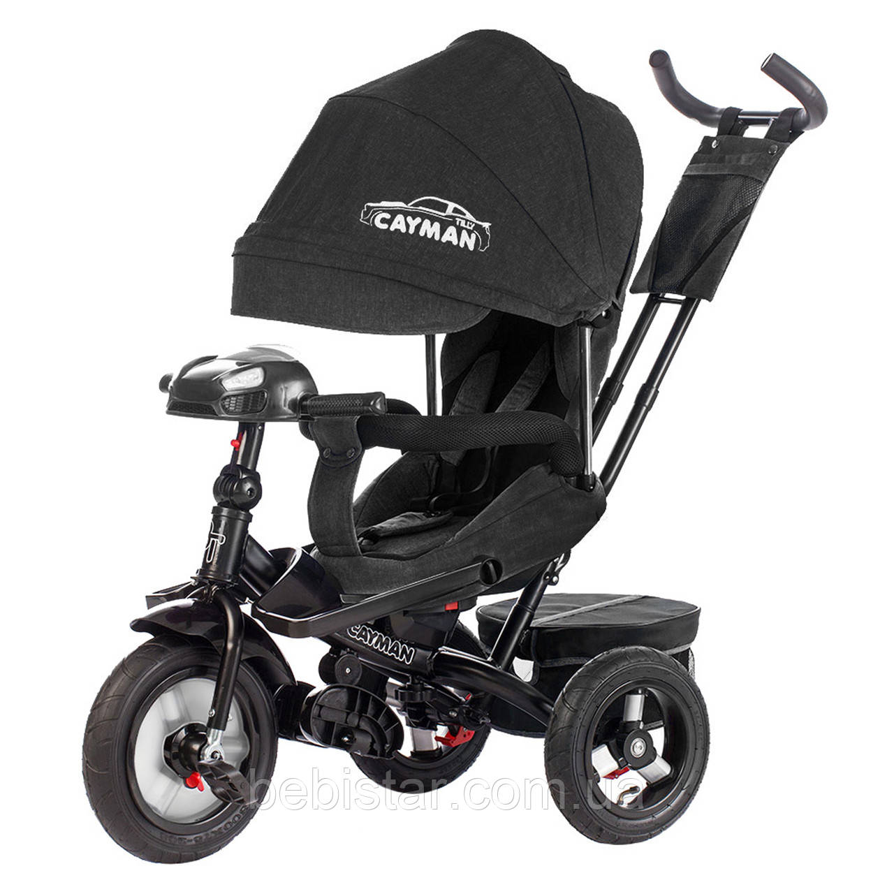 Трехколесный велосипед TILLY CAYMAN черный лен усиленная рама поворот сидения надувные колеса музыка и свет