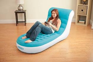Надувное велюровое кресло-шезлонг intex 68880