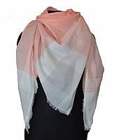 Персиковый большой хлопковый платок в клетку, фото 1
