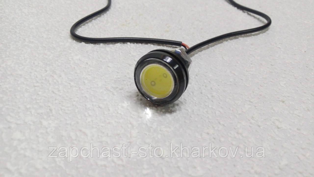 Светодиодная лампа глазок с линзой 12В белая (2шт)