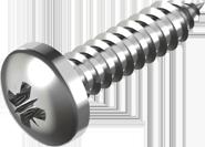 Саморез из нержавеющей стали А4 по металлу, закругленная цилиндрическая головка DIN 7981