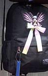 Рюкзак женский текстильный с бабочкой. Черный, фото 2