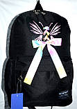 Рюкзак женский текстильный с бабочкой. Черный, фото 5