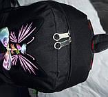 Рюкзак женский текстильный с бабочкой. Черный, фото 4