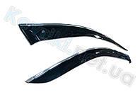 Дефлекторы окон (ветровики) Mitsubishi Triton(2006-2010) с хромированным молдингом