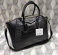 Женская сумка Givenchy Дживанши под рептилию качественная эко-кожа черная