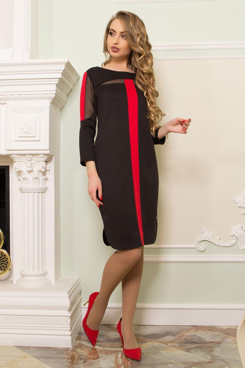 Стильное платье миди полуоблегающее прозрачные вставки длинный рукав черное с красным