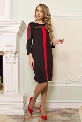Стильное платье миди полуоблегающее прозрачные вставки длинный рукав черное с красным, фото 2