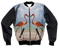 """Куртка-бомбер с 3D принтом """"Фламинго"""", фото 1"""