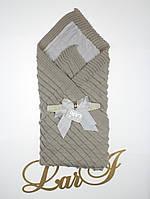 """Демисезонный вязанный плед-покрывало """"Лапушка"""", серый, фото 1"""