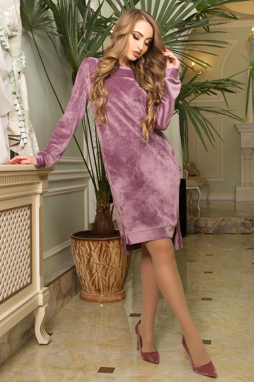 Велюровое платье миди с карманами сиреневое