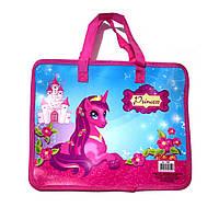 """Пластиковый портфель на змейке """"Пони"""", фото 1"""