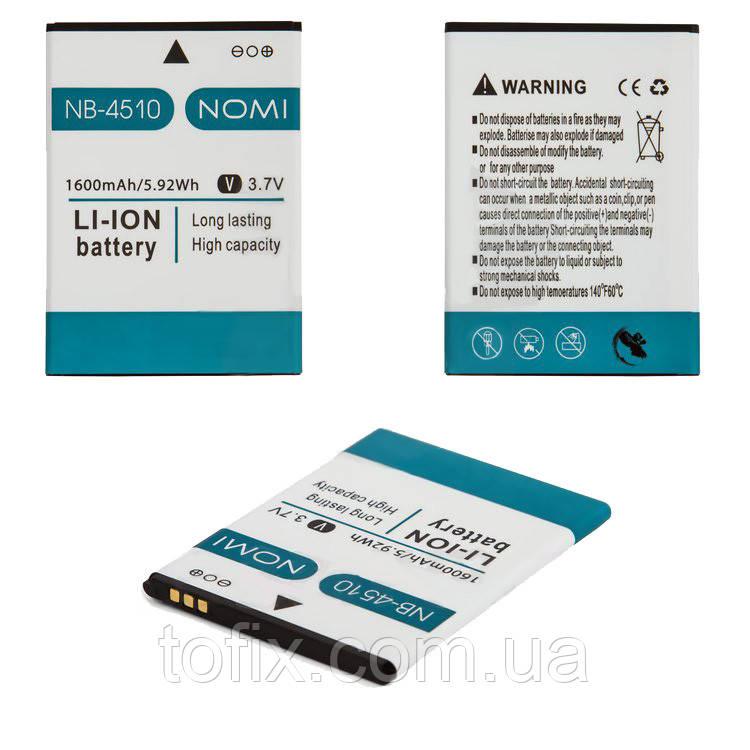 Аккумулятор (АКБ, батарея) NB-4510 для Nomi i4510 Beat M, 1600 mAh, оригинал