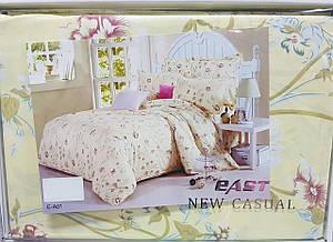 Комплект постельного белья «Цветы на бежевом» евро размер