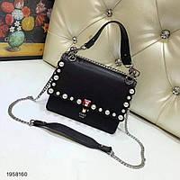 Женская сумка-клатч копия Фенди Fendi качественная эко-кожа дорогой Китай черная