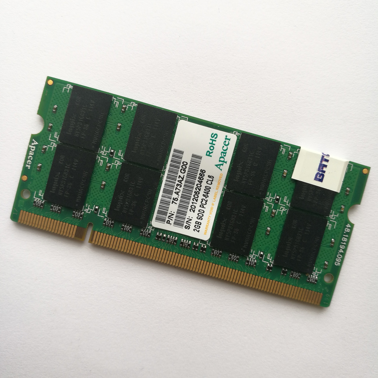 Оперативная память для ноутбука Apacer SODIMM DDR2 2Gb 800MHz 6400 CL6 (75.A73AZ.G00) Б/У