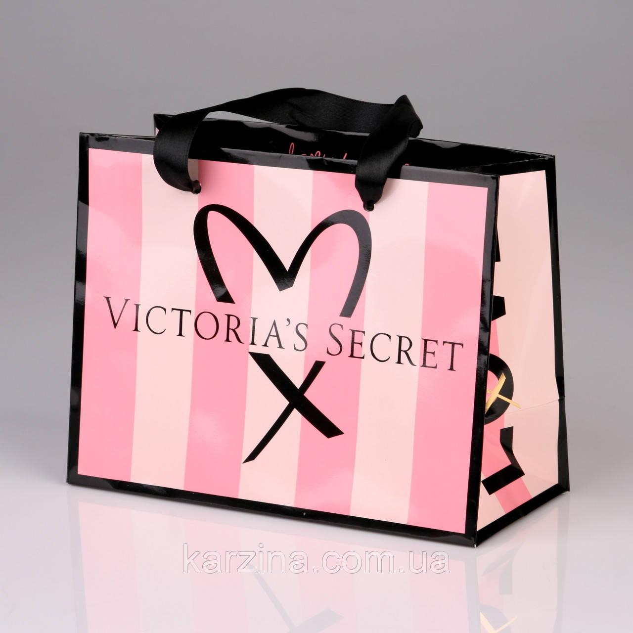 Подарочный пакет маленький Victoria's Secret р.S (19.5см.х16см.х9см)