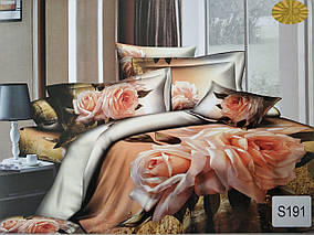 Сатиновое постельное белье евро 3D Люкс Elway S191