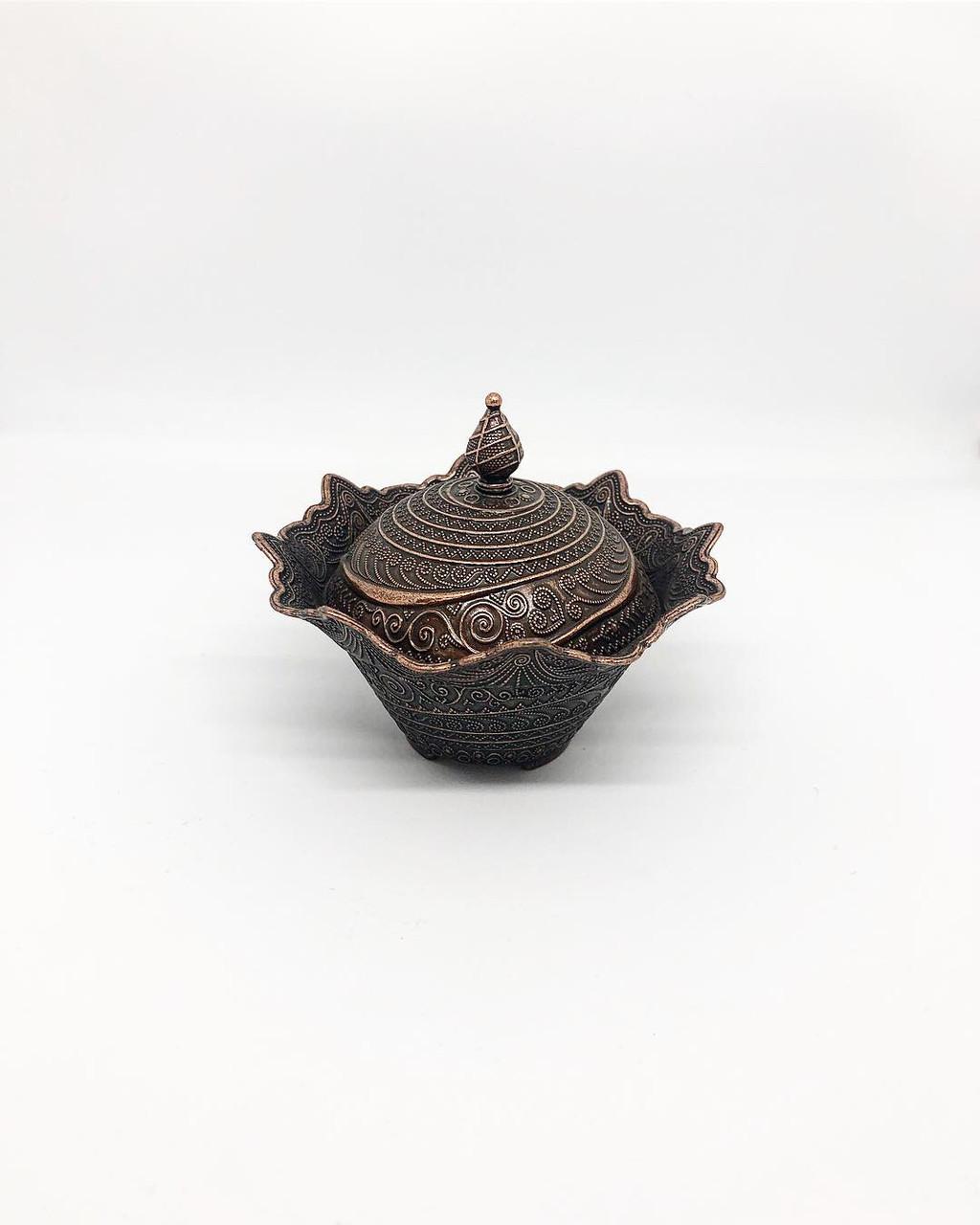 Декоративная сахарница MCA Vizyon из мельхиора медная меленькая