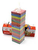 """Игра настольная """"Дженга"""" цветная в коробке (51 брусок) (h-28 см)"""