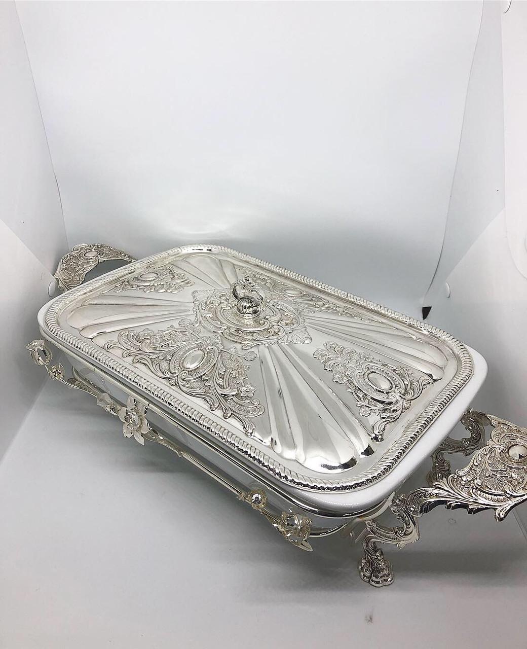 Посуд для подачі м'яса з підігрівом MCA Vizyon мельхіор з посріблені