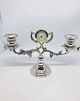 Підсвічник декоративний MCA Vizyon посріблений з годинником, фото 1