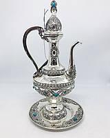Кувшин декоративный M Vizyon из мельхиора посеребренный с бирюзой, фото 1