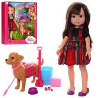 Кукла  с собачкой, набор для уборки за собачкой, аксессуары.