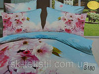 Сатиновое постельное белье евро 3D Люкс Elway S180