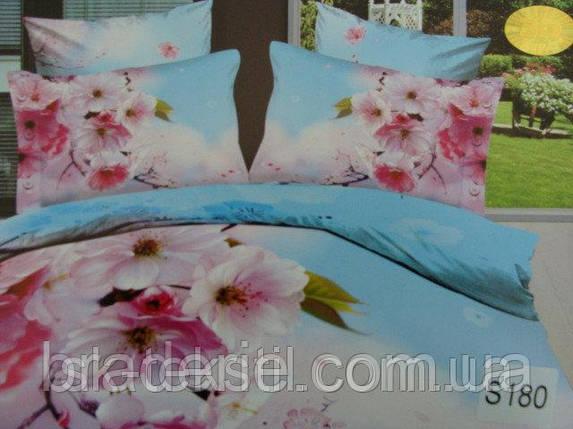 Сатиновое постельное белье евро 3D Люкс Elway S180, фото 2