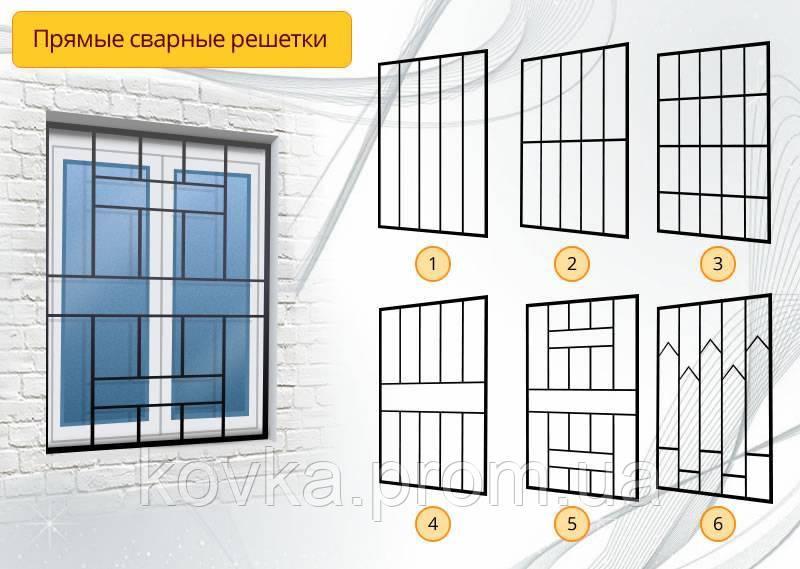 Прямые сварные решетки на окна, код: 05011 (1-36)