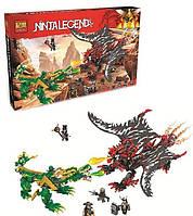 Конструктор Ninja Битва драконов, 1005 деталей.  Детский набор для мальчиков