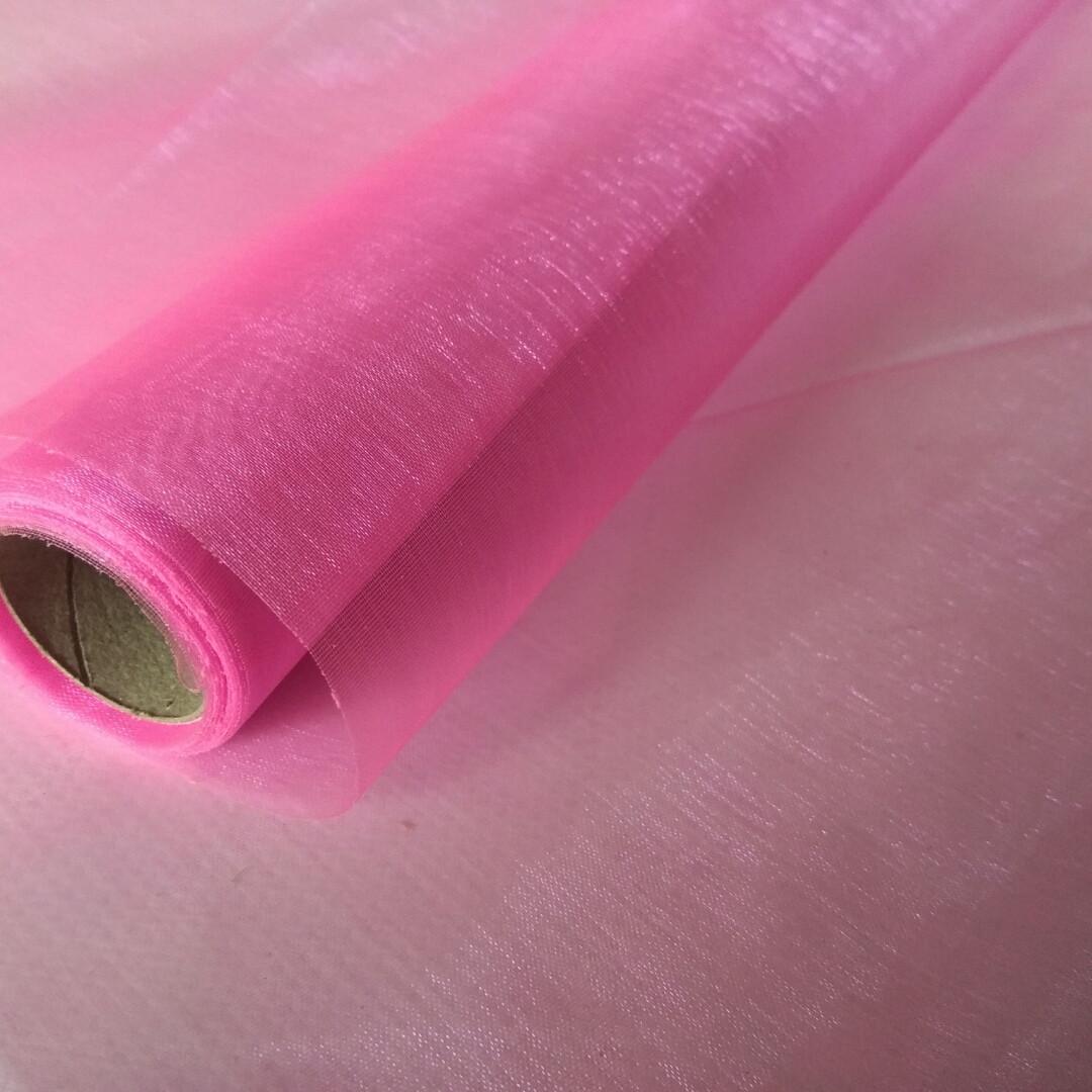Органза простая  флористическая розовая
